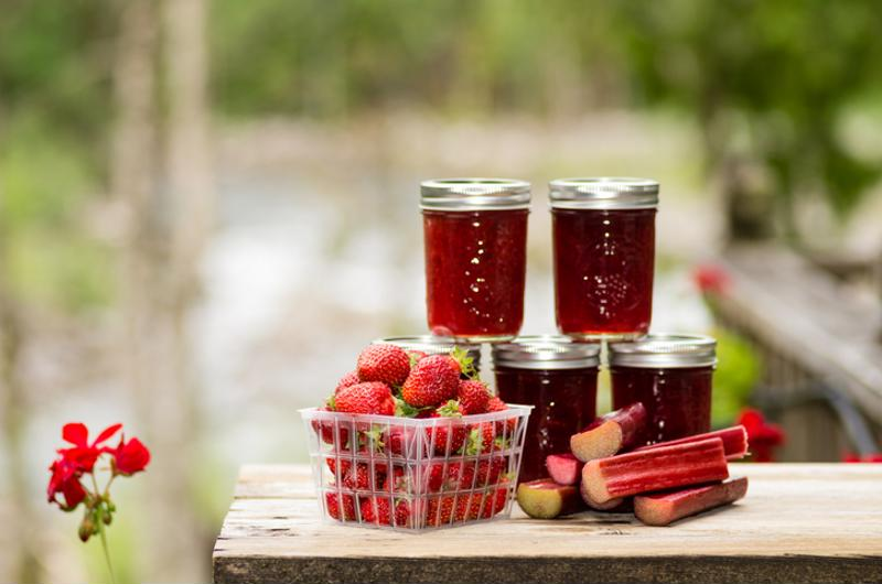 Fruits and vegetables that have been canned in jars.