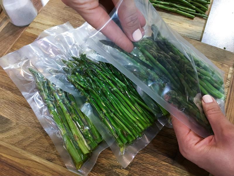 Asparagus in vacuum sealed packaging