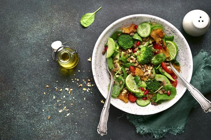 A broccoli salad in a bowl