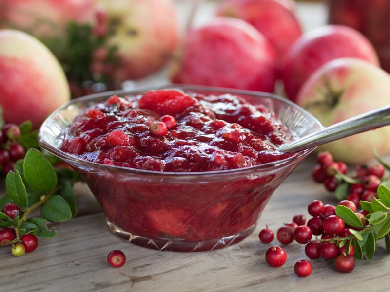 Cranberry jam in a bowl