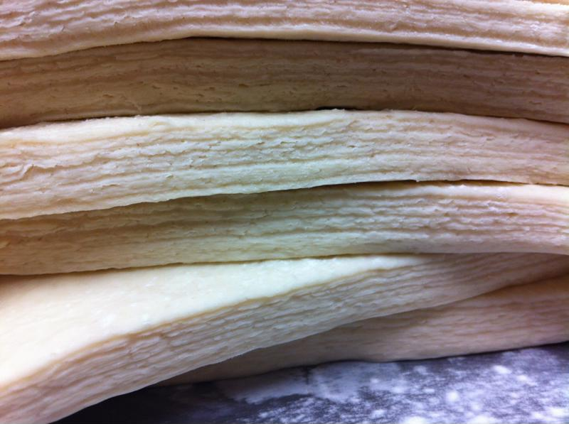 Laminated dough has alternating layers of butter and dough to create a uniquely flaky texture.
