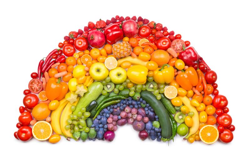 Rainbow made out of fruits and veggies