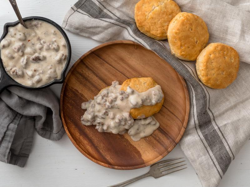 Nothing goes with sausage gravy quite as well as buttermilk biscuits.