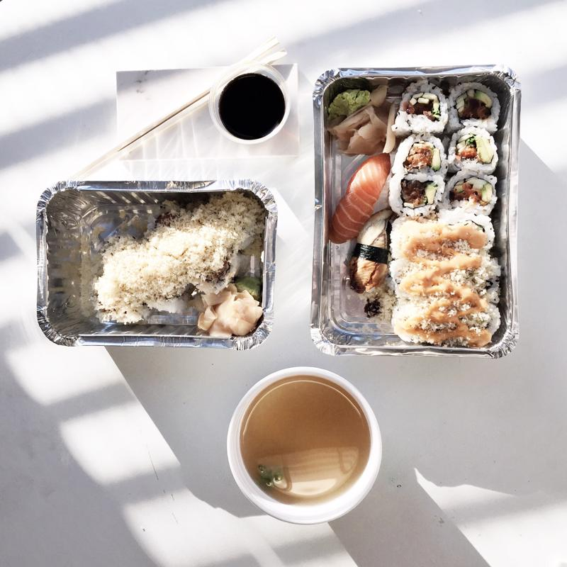 Sushi is one of the myriad delivery options available to diners.