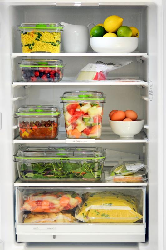 FoodSavers vacuum-sealing containers in a fridge
