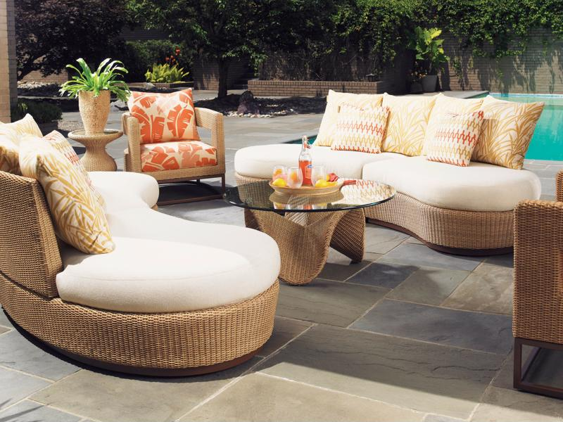 Curved seating can even be used outdoors.