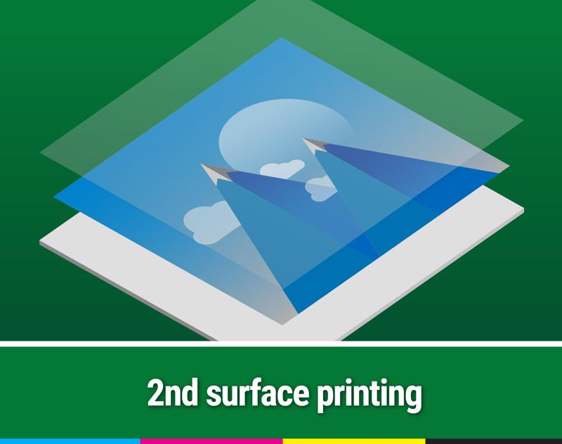 Second surface printing entails printing on the reverse side of the primary image, usually with white ink.