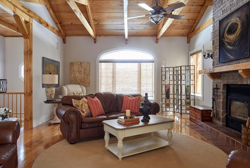 Wooden beams make a cozy touch.