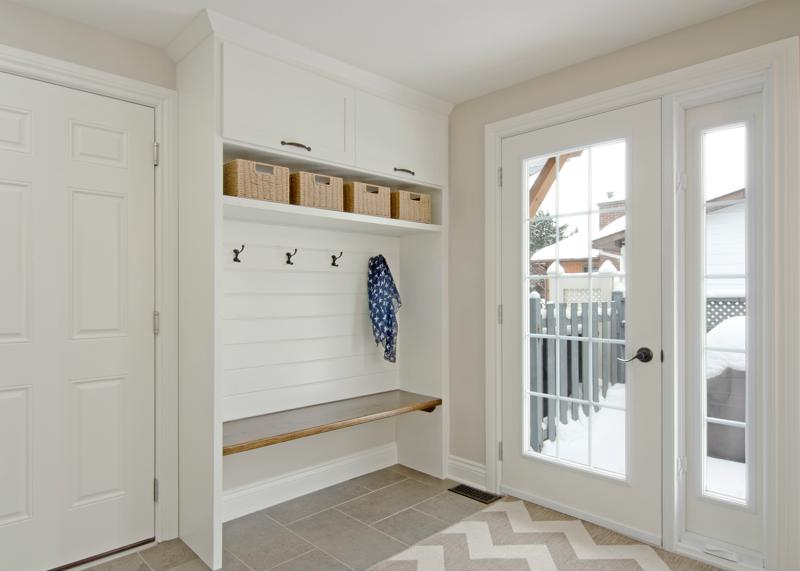 Organization is key in the mudroom.