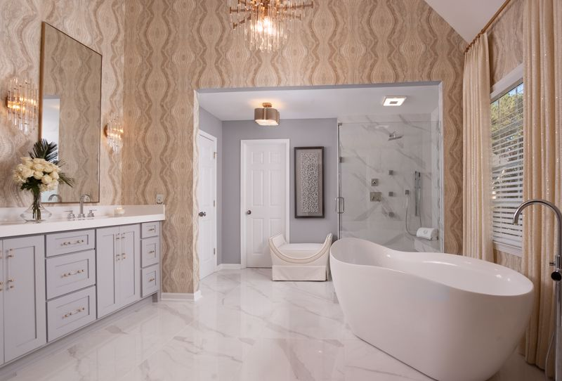 Place wallpaper in the bathroom and let your creativity run wild.