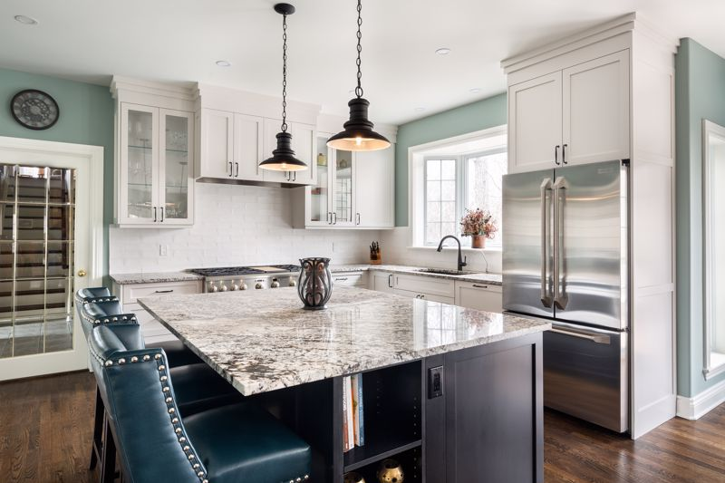 The kitchen is a classic room to incorporate silver and cast iron.