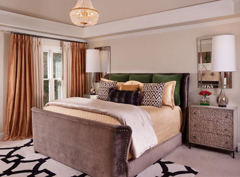 bedroom, drapery, bedding, nightstands, mirrors, chandelier, table lamps, area rug