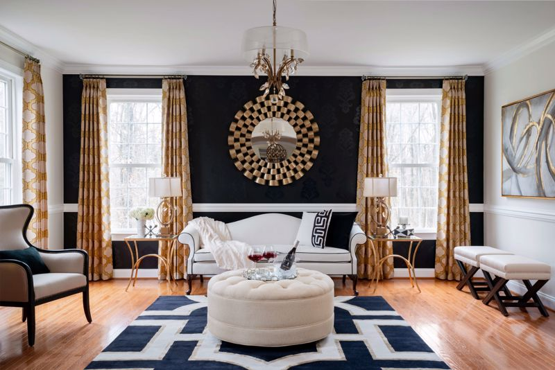 A bold, black accent walls makes a breath-taking statement.