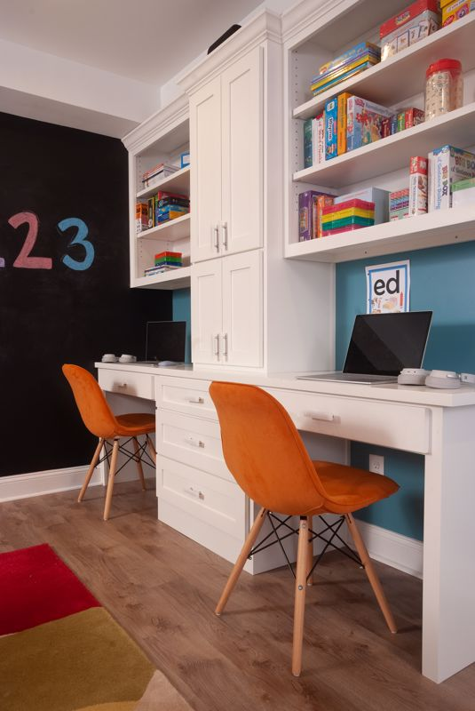 Your child's desk is clutter free by placing books and items on shelves