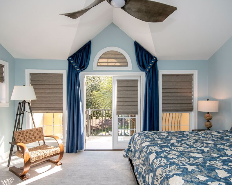 Blinds and drapery offer ultimate privacy.