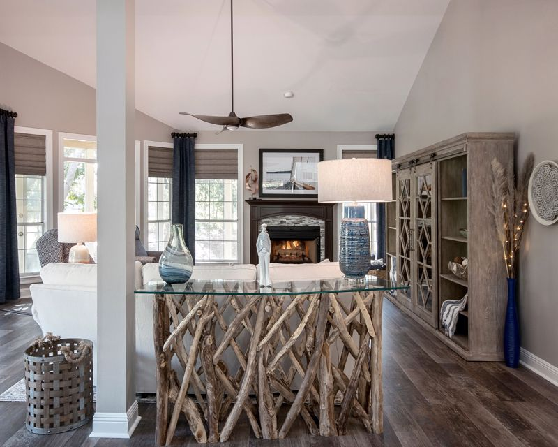 Take advantage of wooded decor and natural elements.