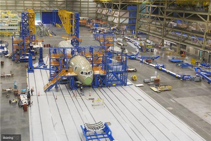 Assembly of a jetliner.