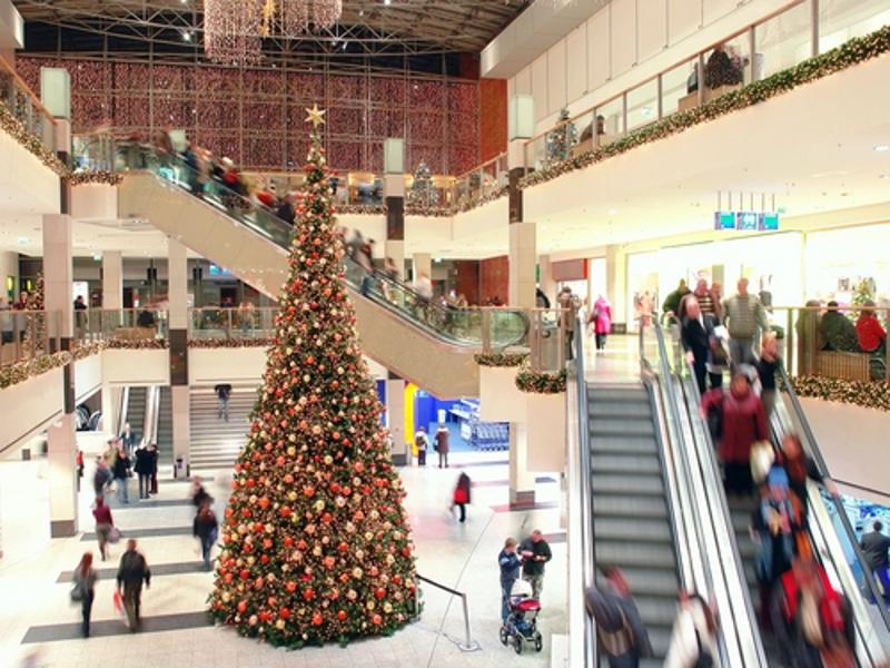 Holiday tree in mall